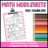 Kindergarten Counting Math Worksheets Common Core Free Download