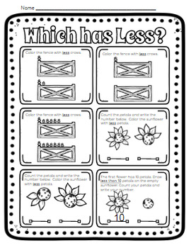 Kindergarten Counting: More Less Same (Fall Theme)