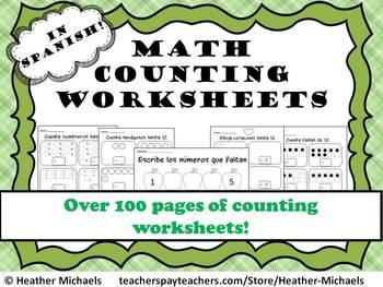 Kindergarten Counting Worksheets in Spanish / Hojas de con