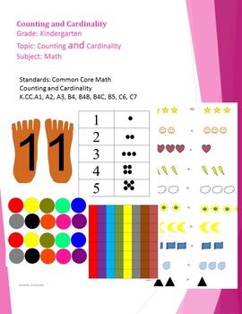 Kindergarten Counting and Cardinality CCSS K.CC.1, 2, 3, 4, 4a, 4b, 4c, 5, 6, 7