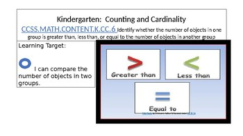Kindergarten Counting and Cardinality Comparing Using Numbers CCSS K.CC.7