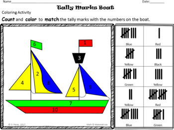 Kindergarten Counting and Coloring-Colors, Numbers, Base Ten Blocks, Tally Marks