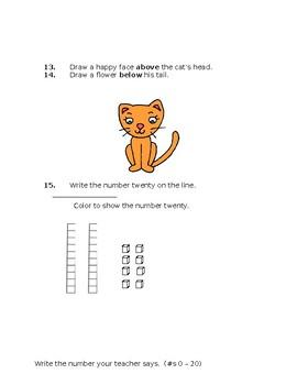 Kindergarten Math Cummulative Test EDITABLE!