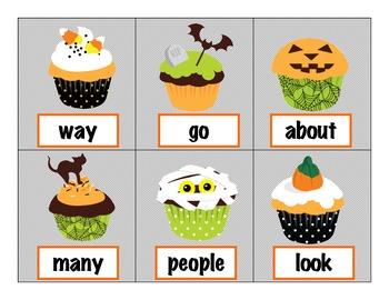 """Kindergarten Cupcake Boo! HFW Game: Houghton Mifflin """"Journeys"""" + Fry Words"""