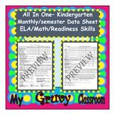 Data Sheet- Monthly/Semester - ELA/Math/Readiness - Kindergarten or Spec. Ed