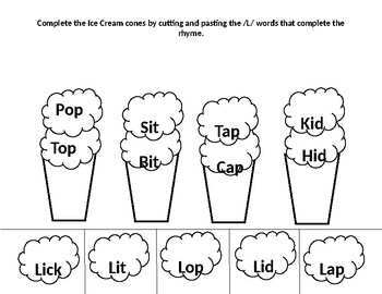 Rhyming Cut And Paste Worksheets Teachers Pay Teachers - 49+ Rhyming Worksheets For Kindergarten Cut And Paste Free Background