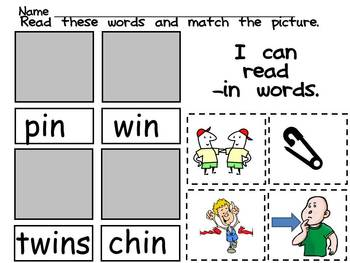 Kindergarten Cut and Paste Word Work- Set Three- Word Families and cvc Words