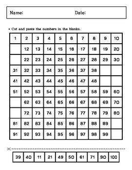 Kindergarten - Cutting and Paste - 100 chart