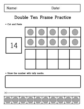 Kindergarten - Cutting and Paste - Double Ten Frame Practice