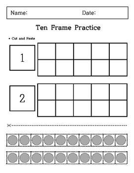 Kindergarten - Cutting and Paste - Ten Frame