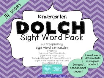 Kindergarten DOLCH Sight Word Pack