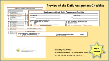 Kindergarten Daily Assignment Checklist for use with Abeka Curriculum
