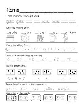 Kindergarten Daily Common Core Review Part 2