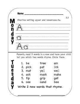 Kindergarten Daily Homework 1st Semester