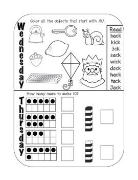 Kindergarten Daily Homework 2nd Semester