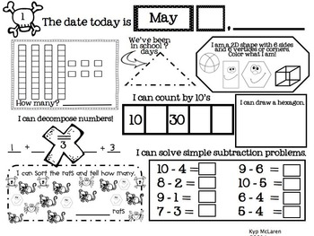 Kindergarten Daily Math May - NO PREP! (Common Core Aligned)