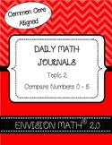 Kinder Common Core Daily EnVision Math® Journals, Topic 2 Comparing Numbers 0-5