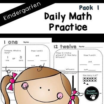 Kindergarten Daily Math (Pack 1)