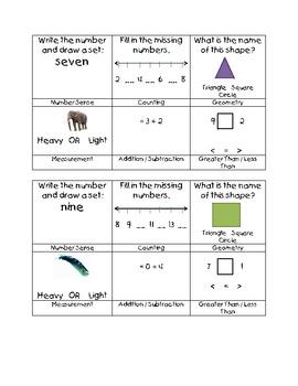 Kindergarten Daily Math Sample