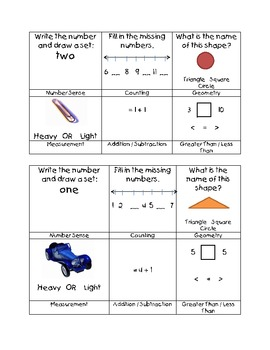 Kindergarten Daily Math Sample