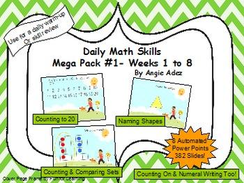 Kindergarten Daily Math Skills Mega Pack #1- Weeks 1-8