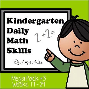 Kindergarten Daily Math Skills Mega Pack #3- Weeks 17 - 24