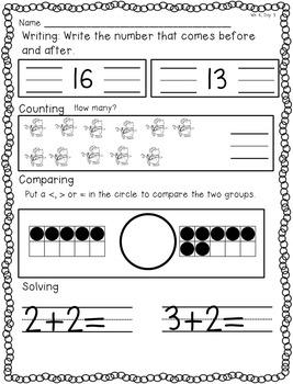 Kindergarten Daily Morning Math August-May BUNDLE