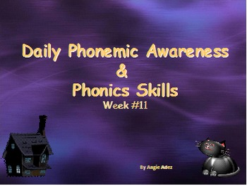 Kindergarten Daily Phonemic Awareness and Phonics Skills Week 11 Halloween Theme