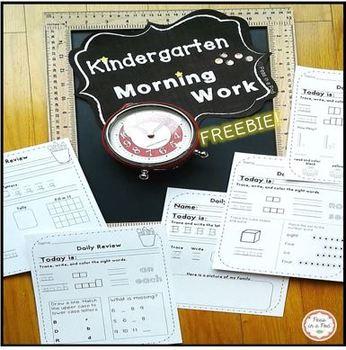 Morning Work for Kindergarten Free