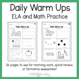 Kindergarten Daily Warm Ups {Letters, Colors, Shapes, Numbers}