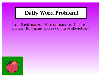 Kindergarten Daily Word Problems