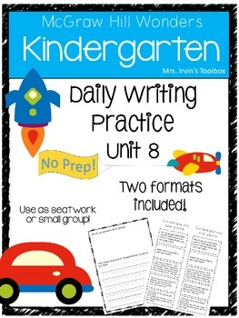 Wonders Kindergarten Daily Writing Practice Unit 8 McGraw Hill