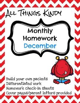 Kindergarten December Homework