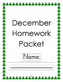 Kindergarten December Homework Packet - Common Core Aligned