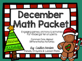 Kindergarten December Math Packet- Stations, Mini Lessons, Activities & Games