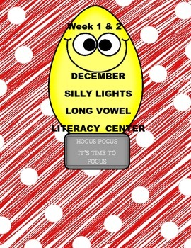 Kindergarten Silly Lights Long Vowel Literacy Center Week 1 & 2
