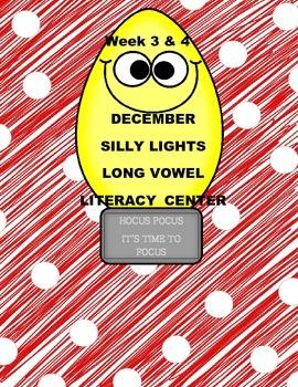 Kindergarten Silly Lights Long Vowel Literacy Center Week 3 & 4