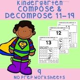 Kindergarten Decomposing 11-19 *NO PREP*