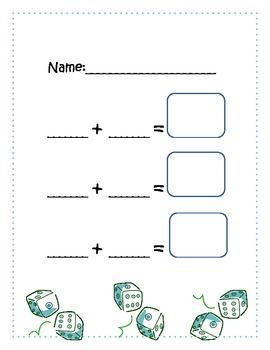 Kindergarten Dice Addition