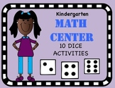 Kindergarten Dice Math Center Activities