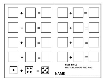 Kindergarten Dice Math Center Activities