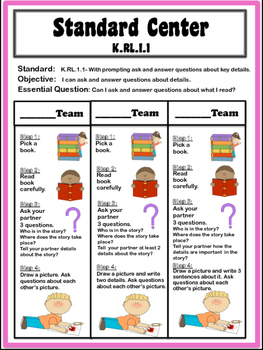 Kindergarten Differentiated Centers for LITERATURE and INFORMATIONAL Standards