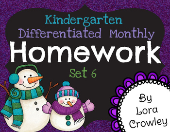 Kindergarten Differentiated Homework Set 6-January