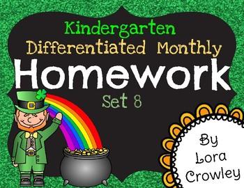 Kindergarten Differentiated Homework Set 8- March