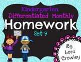 Kindergarten Differentiated Homework Set 9- Spring
