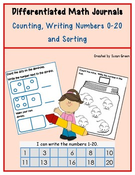 Kindergarten Differentiated Math Journals: Counting, Writing 0-20 and Sorting