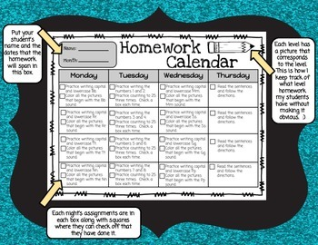 Kindergarten Differentiated Monthly Homework Set 1