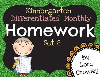 Kindergarten Differentiated Monthly Homework Set 2
