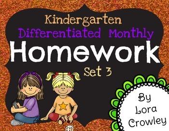 Kindergarten Differentiated Monthly Homework Set 3-Generic Themed