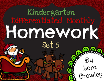 Kindergarten Differentiated Monthly Homework Set 5-December